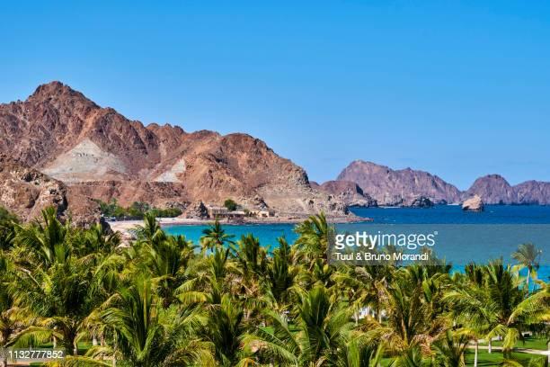 oman, gulf of oman, mascat, al bustan beach - oman fotografías e imágenes de stock