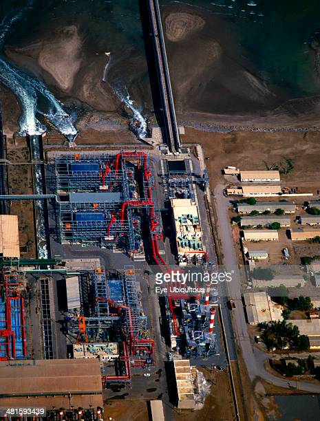 Oman Industry Aerial view over desalination plant