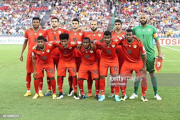 Oman players form a team group before the start of the match during the 2015 Asian Cup match between Oman and Kuwait at Hunter Stadium on January 17...