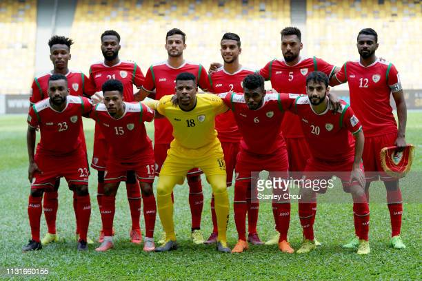 Oman poses prior to kick off during the Airmarine Cup match between Oman and Afghanistan at Bukit Jalil National Stadium on March 20 2019 in Kuala...