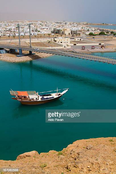 Oman, Sur, view from above and dhow