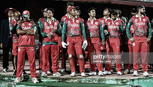 Oman wait to take to the filed ahead of the ICC Twenty20 World Cup match between Ireland and Oman at the HPCA Stadium on March 9 2016 in Dharamsala...