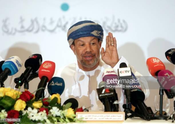 Omani electoral commission chief Khalifa bin Mohammad al-Hadrami addresses a press conference in Muscat on October 28, 2019. - Around 714,000 Omanis...