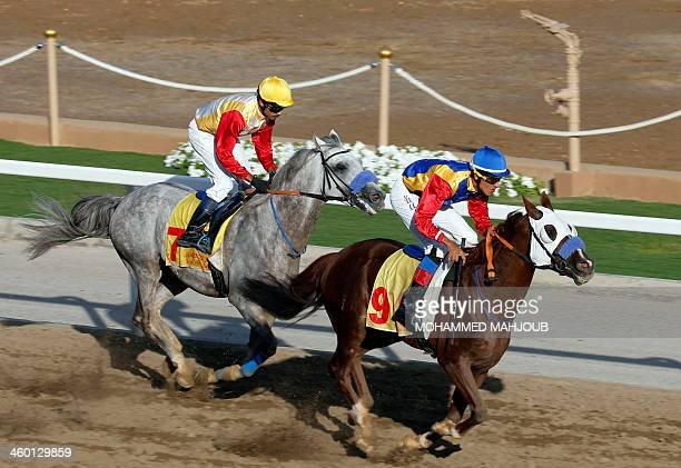 Omani jockeys compete during the annual Royal Horse Racing Festival in Muscat on January 2 2014 The shows were presented by male and female riders of...