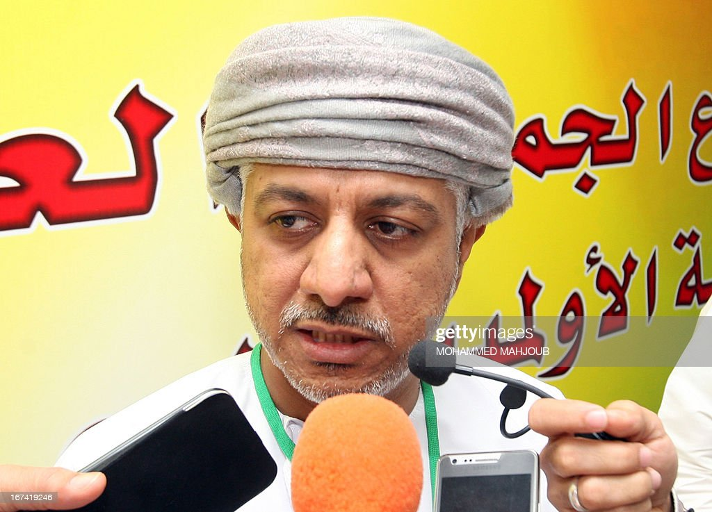 Omani Khalid bin Mohammed al-Zubair, answers journalists' questions after he was elected new chairman of the Oman Olympic Committee (OOC) on April 25, 2013 in the Omani capital Muscat. MAHJOUB