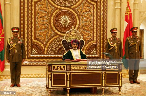 Omani Leader Sultan Qaboos bin Said addresses the annual session of the Council of Oman in Muscat on November 12 2012 AFP PHOTO/MOHAMMED MAHJOUB