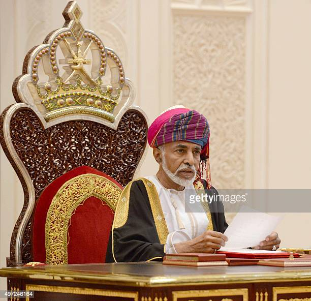 Omani Leader Sultan Qaboos bin Said addresses the opening session of the Council of Oman in the capital Muscat on November 15 2015 AFP PHOTO / STR