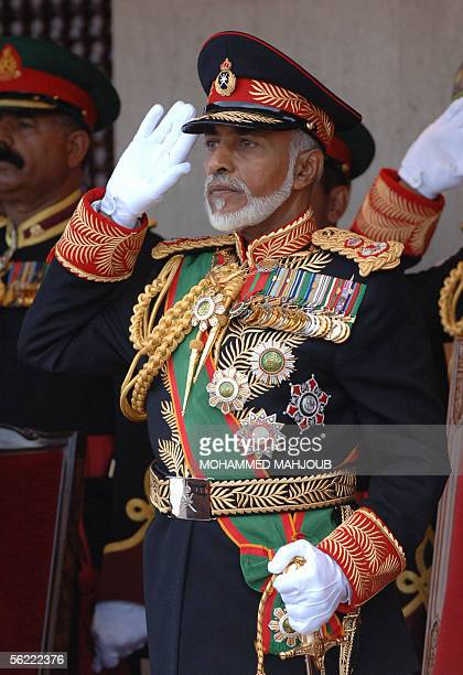 Omani leader, Sultan Qaboos bin Said, attends a military parade in Muscat marking the Gulf sultanate's 35th National Day, 18 November 2005. AFP...