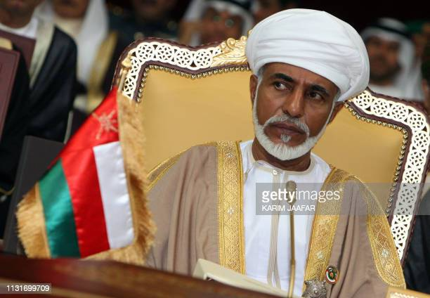 Omani leader Sultan Qaboos bin Said attends the opening of the Gulf Cooperation Council summit in Doha 03 December 2007 Iranian President Mahmoud...
