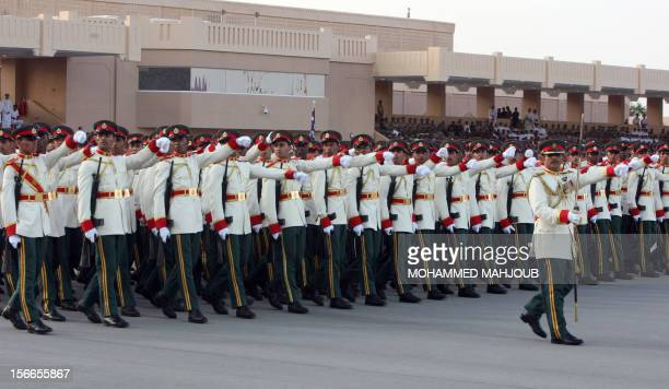 Omani military in dress uniform parade past Sultan Qaboos bin Said in the capital Muscat as the Sultanate marks its 42th National Day on November 18...