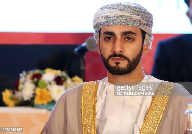 Omani Minister of Culture, Sports and Youth Dhi Yazan Bin Haitham attends the general assembly meeting of the Olympic Council of Asia in the Omani...
