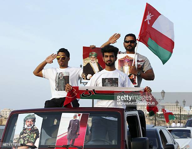 Omanis celebrate the return of their leader Sultan Qaboos bin Said who flew home the previous day after he spent more than eight months in Germany...