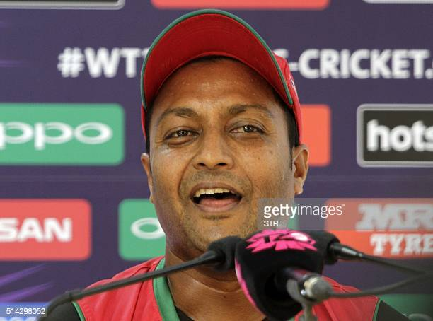Oman's captain Sultan Ahmed addresses media representatives ahead of the World T20 cricket tournament match between Oman and Ireland at The Himachal...