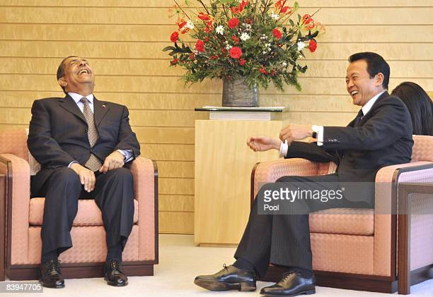 Oman's Economy Minister Ahmed Bin Abdulnabi Macki meets with Japanese Prime Minister Taro Aso during his courtesy call at the Prime Minister's...