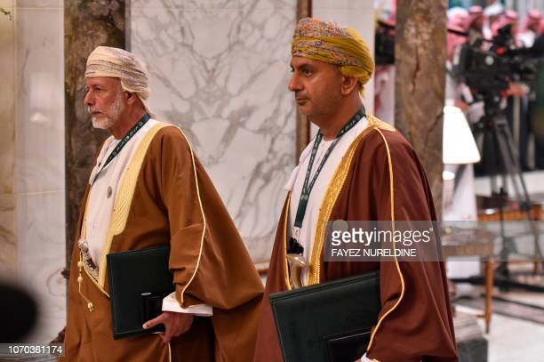 Oman's minister responsible for foreign affairs Yusuf bin Alawi arrives at the Diriya Palace in the Saudi capital Riyadh during the Gulf Cooperation...