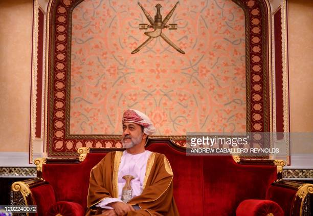 Oman's Sultan Haitham bin Tariq meets with US Secretary of State at al-Alam palace in the capital Muscat on February 21, 2020.