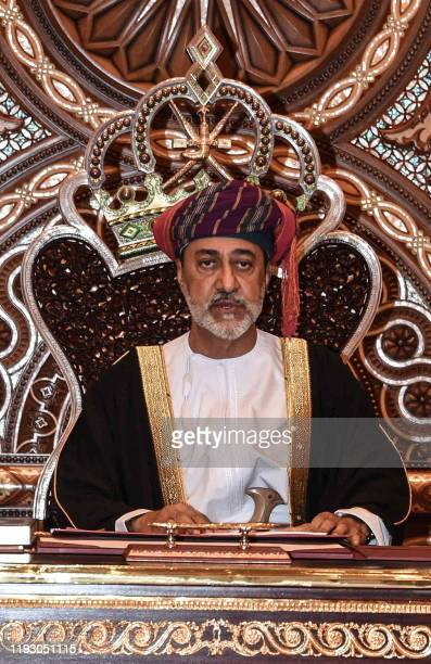 TOPSHOT Oman's Sultan Haitham bin Tariq speaks during a swearing in ceremony as Oman's new leader after the death the previous day of Sultan Qaboos...