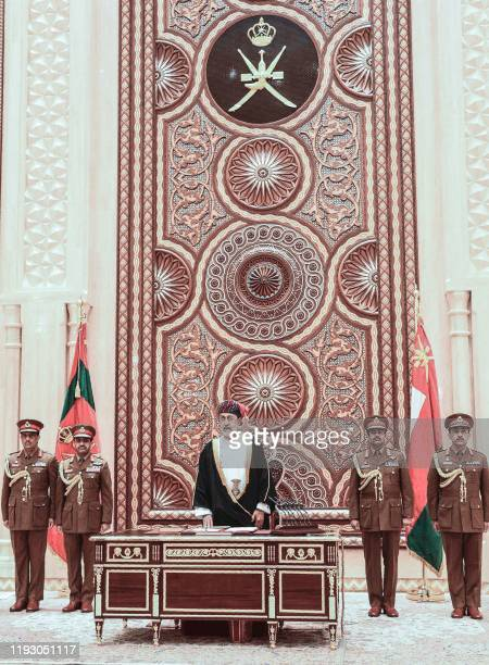 Oman's Sultan Haitham bin Tariq speaks during a swearing in ceremony as Oman's new leader after the death the previous day of Sultan Qaboos on...
