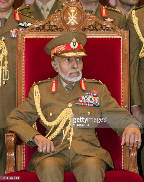 Oman's Sultan Qaboos bin Said attends a military parade in the capital Muscat, marking the Sultanates 46th National Day, on November 18, 2016.