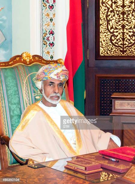 Oman's Sultan Qaboos Bin Said is pictured during a cabinet meeting at the royal palace in Muscat on November 1, 2015. The Omani leader appeared in...