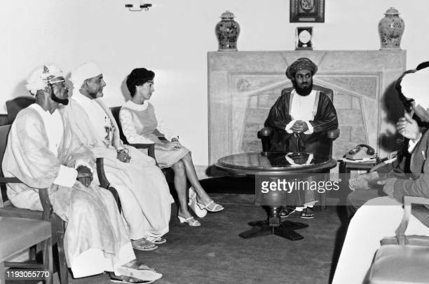 Oman's Sultan Qaboos bin Said receives the press at the royal residence, the ceremonial Al Alam Palace, in October 1971, in Muscat.