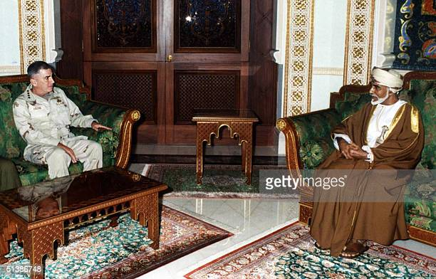 Oman's Sultan Qaboos meets with US Central Command chief General John Abizaid in Muscat 03 October 2004 During the audience with the Omani ruler...