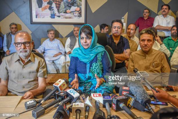 Omar Abdullah former chief minister of Jammu and Kashmir addresses media persons after The ruling Bharatiya Janata Party ended its alliance with...