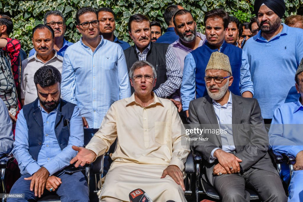 Omar Abdullah (center) former chief minister of Jammu and Kashmir, addresses media persons after the ruling Bharatiya Janata Party ended its alliance with People's Democratic Party in Jammu and Kashmir on June 19, 2018 in Srinagar, the summer capital of Indian administered Kashmir, India. the ruling Bharatiya Janata Party ended its alliance with People's Democratic Party in Jammu and Kashmir. This decision was taken in a meeting chaired by BJP president Amit Shah. Following the pullout, BJP has sent a letter to the Governor, NN Vohra expressing their decision. Governor's rule is a major possibility after today's breakup.