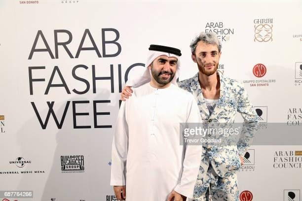 Omar Al Marzooqi and Jacob Abrian attend the Arab Fashion Week Ready Couture Resort 2018 Gala Dinner on May 202017 at Armani Hotel in Dubai United...