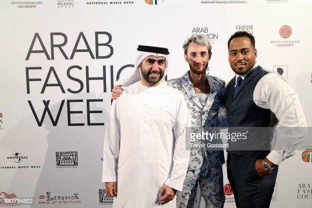 Omar Al Marzooqi Jonny Sierra and Jacob Abrian attend the Arab Fashion Week Ready Couture Resort 2018 Gala Dinner on May 202017 at Armani Hotel in...