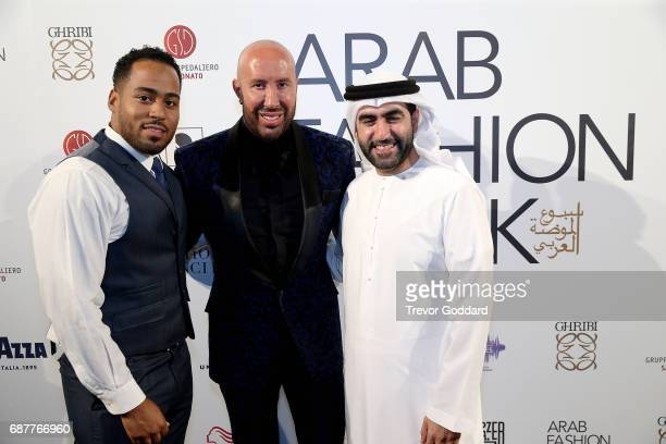Omar Al Marzooqi Jonny Sierra and Wadih El Najjar attend the Arab Fashion Week Ready Couture Resort 2018 Gala Dinner on May 202017 at Armani Hotel in...
