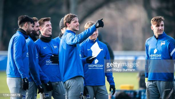 Omar Alderete, Lucas Tousart, Krzysztof Piatek, Niklas Stark, Maximilian Mittelstaedt and Marcel Lotka of Hertha BSC during the training session at...