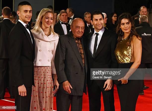 Omar AlFayed guest Mohamed AlFayed Karim Al Fayed and Brenda Costa attend the Royal World Premiere of Spectre at Royal Albert Hall on October 26 2015...