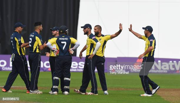 Omar Ali of C and R Hawks Cricket Club 1st XI celebrates taking the wicket of Rob Peyton of South Northumberland Cricket Club during the Semi Final...