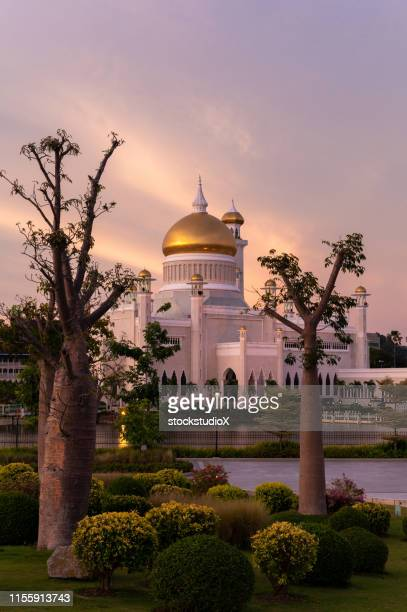 omar ali saifuddien mosque in brunei darussalam - brunei stock pictures, royalty-free photos & images