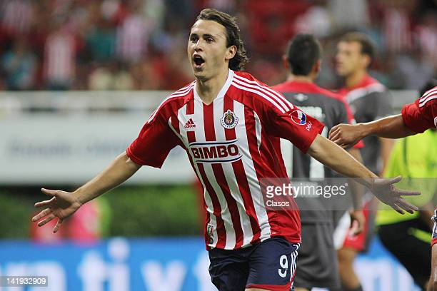 Omar Arellano of Chivas celebrates a goal during a match between Chivas and Toluca as part of the Torneo Clausura 2012 at Omnilife Stadium on March...