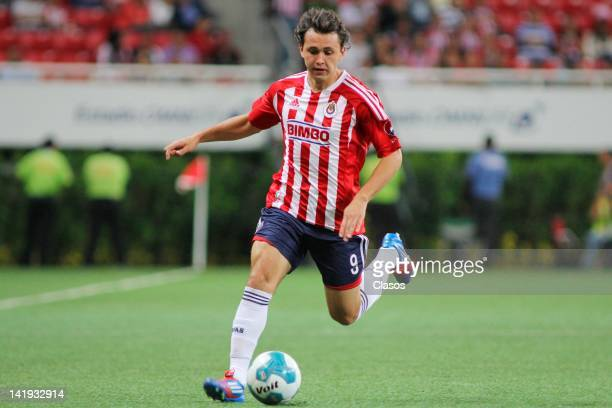 Omar Arellano of Chivas in action during a match between Chivas and Toluca as part of the Torneo Clausura 2012 at Omnilife Stadium on March 24, 2012...