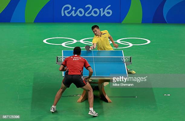 Omar Assar of Egypt plays a Men's Singles second round match against Lei Kou of Ukraine on Day 2 of the Rio 2016 Olympic Games at Riocentro Pavilion...