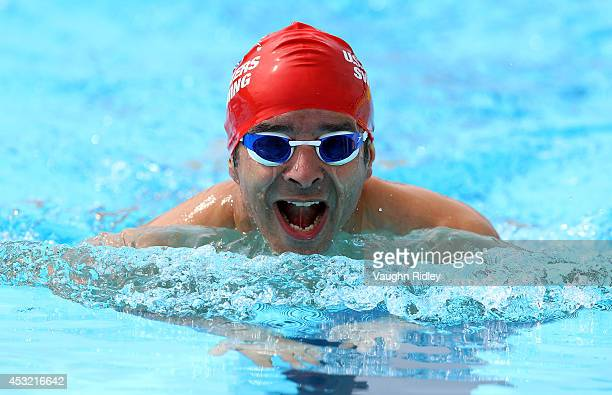 Omar Awad of the US competes in the Men's 400m Individual Medley at Parc JeanDrapeau during the 15th FINA World Masters Championships on August 05...