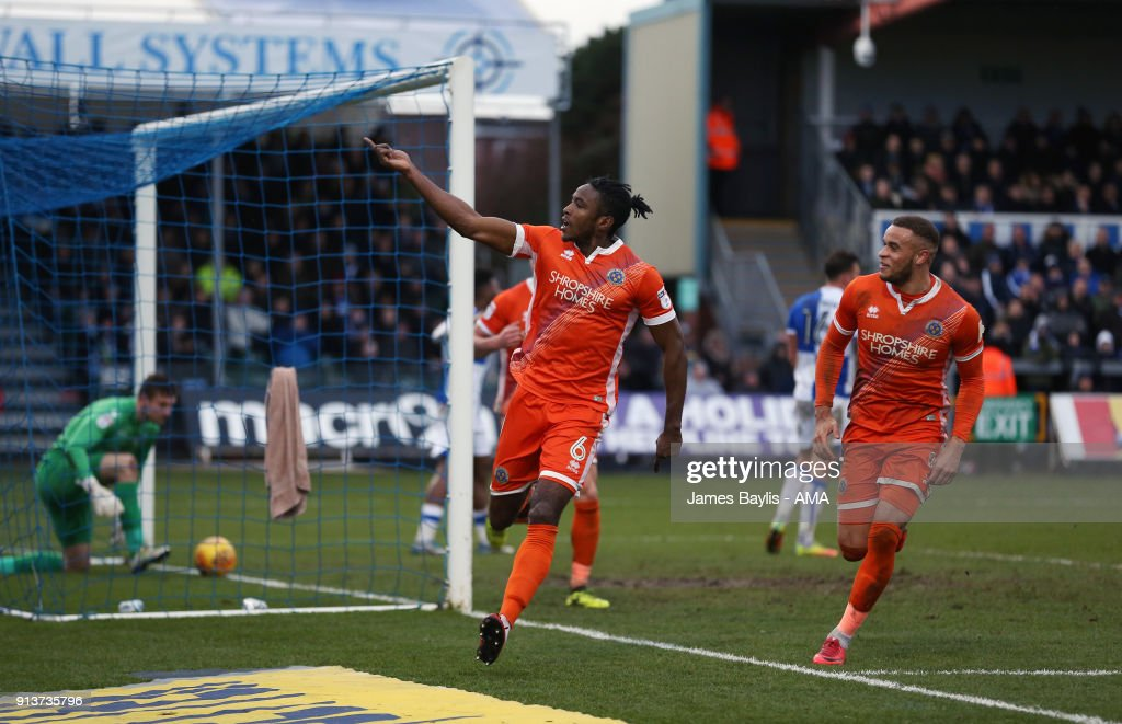 Omar Beckles of Shrewsbury Town celebrates after scoring a goal to make it 0-1 during the Sky Bet League One match between Bristol Rovers and Shrewsbury Town at Memorial Stadium on February 3, 2018 in Bristol, England.