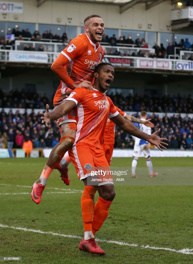 Omar Beckles of Shrewsbury Town celebrates after scoring a goal to make it 0-1 with Carlton Morris of Shrewsbury Town during the Sky Bet League One match between Bristol Rovers and Shrewsbury Town at Memorial Stadium on February 3, 2018 in Bristol, England.