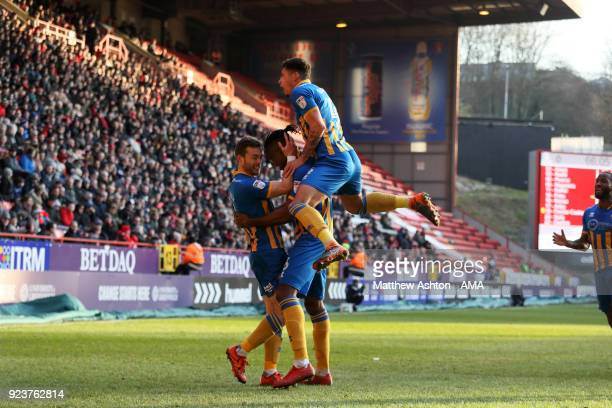 Omar Beckles of Shrewsbury Town celebrates after scoring a goal to make it 02 during the Sky Bet League One match between Charlton Athletic and...