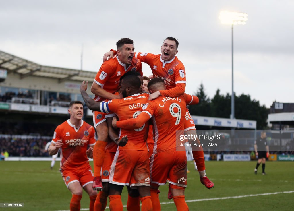 Omar Beckles of Shrewsbury Town celebrates with his team mates after scoring a goal to make it 0-1 during the Sky Bet League One match between Bristol Rovers and Shrewsbury Town at Memorial Stadium on February 3, 2018 in Bristol, England.