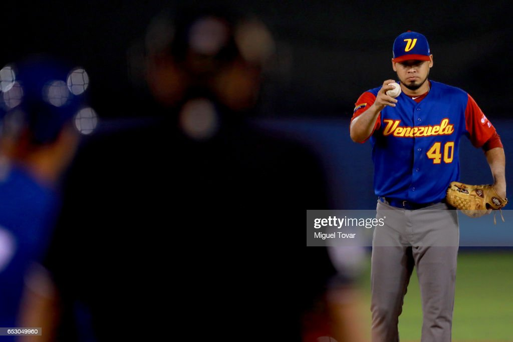 Omar Bencomo #40 of Venezuela pitches in the bottom of the first inning during the World Baseball Classic Pool D Game 7 between Venezuela and Italy at Panamericano Stadium on March 13, 2017 in Zapopan, Mexico.