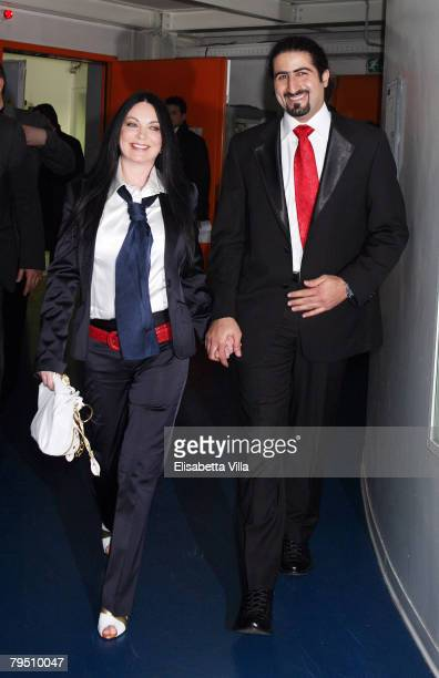 Omar Bin Laden the 26yearold son of al Qaeda leader Osama Bin Laden arrives with his wife Jane FelixBrowne before the broadcast 'Niente di Personale'...