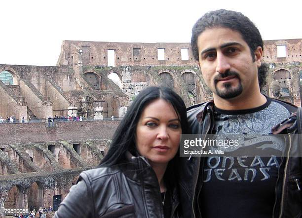 Omar Bin Laden the 26yearsold son of al Qaeda leader Osama Bin Laden and his wife Jane FelixBrowne pose in front of the Colosseum during a visit to...