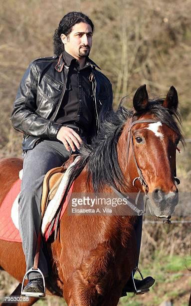 Omar Bin Laden the 26yearsold son of al Qaeda leader Osama Bin Laden rides a horse at Lago di Martignano near Rome on February 5 2008 in Bracciano...