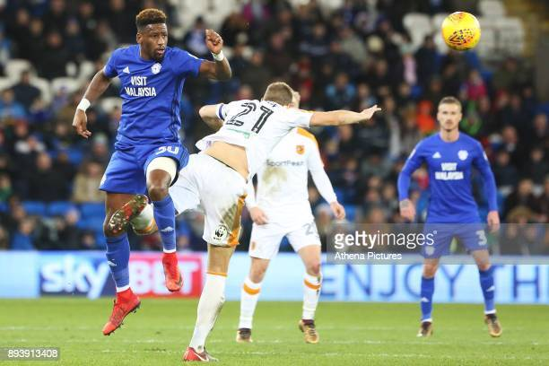 Omar Bogle of Cardiff City contends with Michael Dawson of Hull City during the Sky Bet Championship match between Cardiff City and Hull City at the...