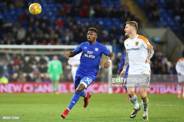Omar Bogle of Cardiff City is marked by Ondrej Mazuch of Hull City during the Sky Bet Championship match between Cardiff City and Hull City at the...