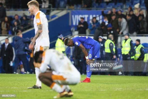 Omar Bogle of Cardiff City puts his hands on his knees after the final whistle of the Sky Bet Championship match between Cardiff City and Hull City...